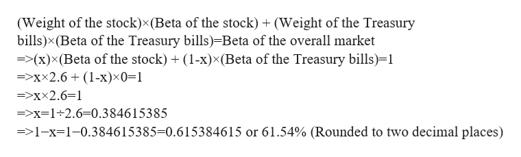 (Weight of the stock)x(Beta of the stock) (Weight of the Treasury bills)x(Beta of the Treasury bills)-Beta of the overall market =(x)x(Beta of the stock)(1-x)x (Beta of the Treasury bills)-1 =>xx2.6 (1-x)x0=1 =>xx2.6=1 =>x=1-2.6=0.384615385 =>1-x-1-0.384615385-0.615384615 or 61.54% (Rounded to two decimal places)