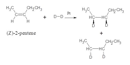 Н,С CH2CH3 С—С HаС CH2 CH3 Pt D-D нС—нс Н Н (Z)-2-рentene + Hас, сHE CH, нс—нс О о