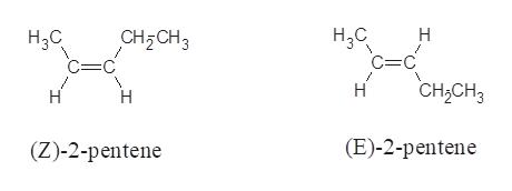 H,с =C Н Нас CH2CH3 =C CH2CH3 Н H Н (E)-2-pentene (Z)-2-pentene