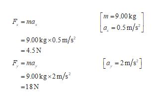 m -9.00kg F ma a =0.5m/s 9.00kg x0.5 m/s =4.5N [a,-2 m/s] F ma 9.00kgx2m/s -18N