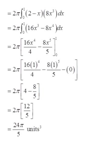 -27(2-x 8r)dt -27f (16x -8&x* dc 16x 8r = 27 4 5 16(1) 8(1) = 27T 4 -(0) 5 8 = 27 4 5 12 27 5 24 units 5