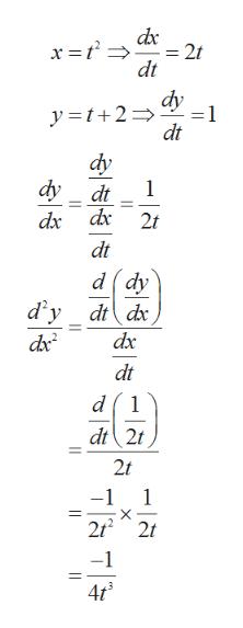 dx 2t dt dy =1 y t+2 dt dy dy 1 dt dx dx 2t dt d dy dt dx d y dx dx2 dt 1 dt 2t 2t -1 1 2t2 2t -1 4t TT