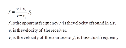v+v v-y f =v, -fo fisthe apparent frequency, visthevelocity ofsoundin air v, is thevelocity of thereceiver vis the vel ocity of the source and f, is theactual frequency