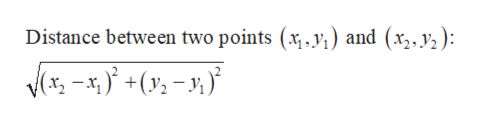 Distance between two points (x , y,) and (x,,y,):