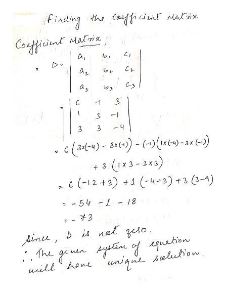 Finding the Cafficinlr Malix Coficint Maloi 3 4 Ix3-3X3) 6 (-12+3) 1 (-4+3)+3 (3-4) 3 54 18 3 dinee, D is nel zeso. uniqu alubiow uill han