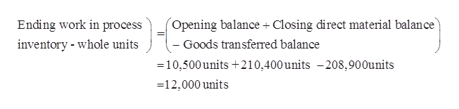 Closing direct material balance Opening balance Ending work in process inventory whole units - Goods transferred balance 10,500units 210,400units -208,900units 12,000 units