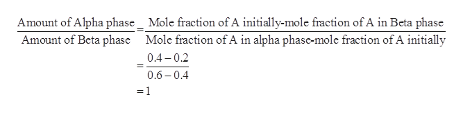 Amount of Alpha phase_ Mole fraction of A initially-mole fraction of A in Beta phase Amount of Beta phase Mole fraction of A in alpha phase-mole fraction of A initially 0.4 0.2 0.6 0.4 =1