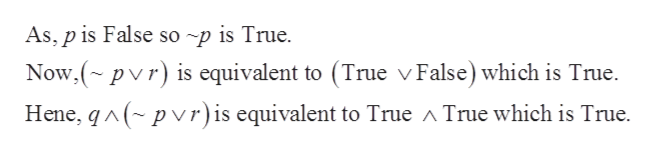 As, p is False so ~p is True Now,(~pvr) is equivalent to (True v False) which is True. p vr) is equivalent to True ^ True which is True Hene, q