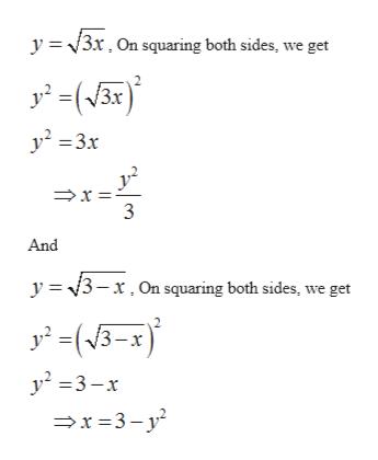 y 3r. On squaring both sides, we get y23x And y 3-x.On squaring both sides, we get -x y2 3-x x3-y