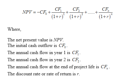 CF СЕ CF NPV =-CF (1+r) (+r) (1+r) Where, The net present value is NPV The initial cash outflow is CF The annual cash flow in year 1 is CF The annual cash flow in year 2 is CF The annual cash flow at the end of project life is CF The discount rate or rate of return is r