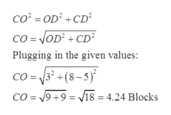 CO OD2+CD Co =NOD +CD Plugging in the given values: CO =32 +(8-5) CO = 19+9 = v18 = 4.24 Blocks