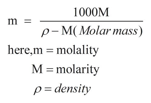 1000M m = p- M(Molarmass) here,m molality M molarity p= density