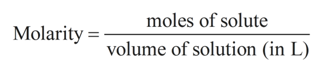 moles of solute Molarity volume of solution (in L)