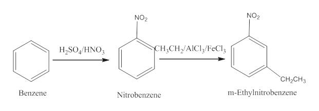 NO2 NO2 CH2CH2/AICIFeCI H2SO4/HNO CH2CH3 m-Ethylnitrobenzene Benzene Nitrobenzene