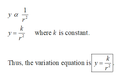 1 уа k where k is constant k Thus, the variation equation is y = 2