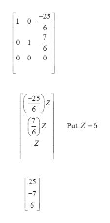 0 0 1 0 0 -25 Z Put Z 6 Z Z 25 -7 6