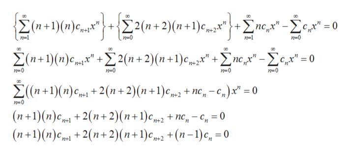 """{2 (n+1) (п)с. 22(n+2)(п+1) с+2 пс - Хс, -0 п-1 п-0 п-1 п-0 оо оо оо Х(n+1)(п)с 2 2(п + 2)(п +1) с """" + Zпе,у"""" - Хсд"""" -0 п-0 n0 n0 n-0 ос 2 (n+1)(п)с, + 2(n+ 2)(n +1)сm, + nе,- 0 п0 (п+1)(п)ср, + 2(п+ 2) (п+1)с (п+1)(п)с + 2(п+ 2) (n+1)с, + (n-1)с, 30 + nc, - с, — 0 n+2 у"""