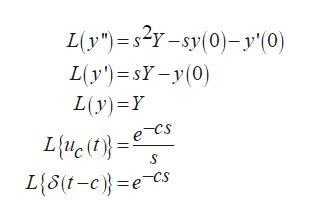 "L(y""s2y-sy(0)y'(0) L(y')sYy(0) L(y) Y e~Cs L{u(}= L{5(t-c=e Cs"