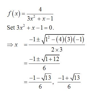 f(x)3+x1 Set 3x2x1 = 0 -lt (4)(31) 2 x 2 x3 -1t l12 6 -1-13 -1+ 13 6 |