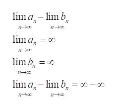 lima limb lim a = oo lim b, lm a-m b lim b = o0-o D-s n n