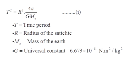 47T .(i) GM T Time period R Radius of the sattelite M Mass of the earth G = Universal constant =6.673 x1011 N.m2 / kg