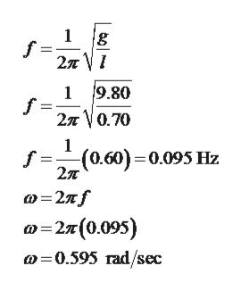 1 f 2л V1 9.80 f 2л \0.70 1 1 f = (0.60)=0.095 Hz 2л Ф-2л/ о-2я(0095) о -0.595 гad/sec ఉం