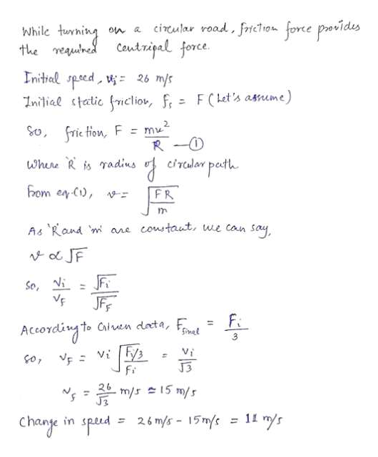 AurminCautripal for cirular road, fricTion force povides Coutripal force While on a the meauned nitial speed 26 m/s Inilial tatic friclio, fr F (Let's asnume) So frie tion F m R O cralar path where R is radius hom en C, FR coustaut, we can say A& Rand m ane o JF So i JFF Fi to Cairen deta, F Accoveing Vi o, v J3 Fi 26 m/s15 m/s 26 mys- 15mys=1s change in speud