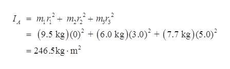 mrm ms (9.5 kg)(0) +(6.0 kg) (3.0)? + (7.7 kg)(5.0) 246.5kg m2