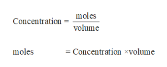 moles Concentration volume moles Concentration xvolume