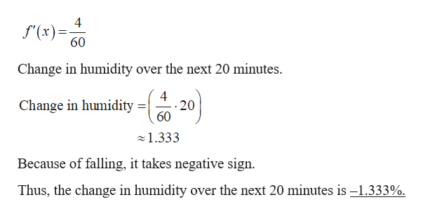 f'(x) 60 Change in humidity over the next 20 minutes. 4 20 60 Change in humidity = 1.333 Because of falling, it takes negative sign. Thus, the change in humidity over the next 20 minutes is -1.333%.