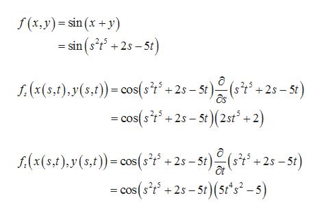 f(x, y) sin (x +y) = sin (s2t 2s 5t f:(x(5,t),y(s,t)) cos(st +2s-5t)(s5 - cos(st+25-5t)(2st +2) +2s 5t s(x(5,1)y(5,))cos(sf +2s-5t)(s +2s-5t) at -cos(f+2-5t)(5t*s-s)