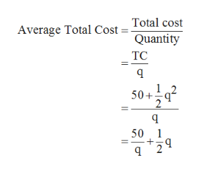 Total cost Average Total Cost = Quantity TC 12 50+ 2 50 1 2