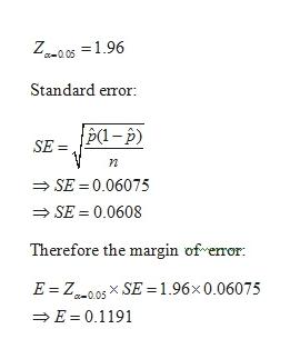 Z-0s1.96 Standard error {p(1-p) SE=P- SE = 0.06075 SE = 0.0608 Therefore the margin of eror E Z005xSE = 1.96x 0.06075 E 0.1191