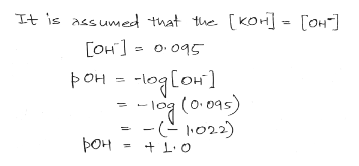Tt is assumed that the [KoH - [oH [OH o045 [он ] : Рон - le (o095) - 022) 1 pOH