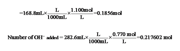 1.100шо х. L -168.8mLx -0.1856mol L 1000mL 0.770 шоl -х. -0.217602 mol L Number of OH added= 282.6mLx. 1000mL