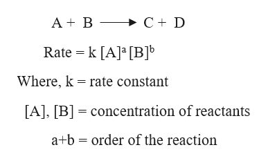 A B >C+ D Rate k [A] [BJb Where, k rate constant [A], [B concentration of reactants a+b order of the reaction