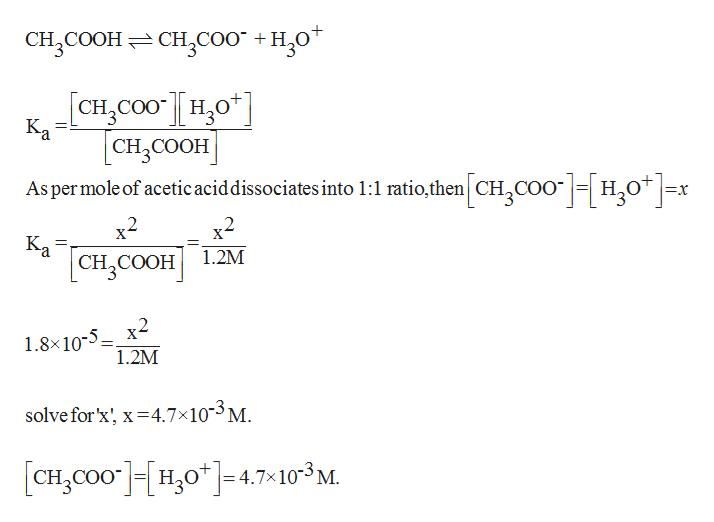 CH3COOH CH,Co0 +H20* CH,COOHO Ка [CH, COОH As permole of acetic aciddissociates into 1:1 ratio,then CHCOOH20 x x2 x2 Ka 1.2M [сH, COон) COOH 1.8x10-5x2 1.2M solve for'x x4.7x10-3 M [CHCO0H04.7103M