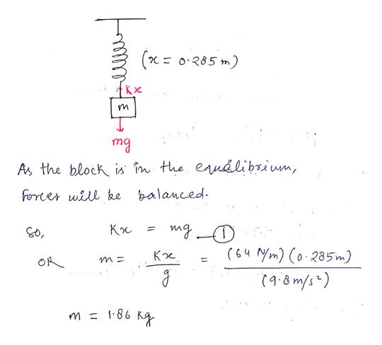 ( o285 m) Кx mg As the block is n the eauelibrium, forrter will ke balanced. Кж mg (64NM) (o Кж 285m) OA (9:8 m/s) m 86 Ky