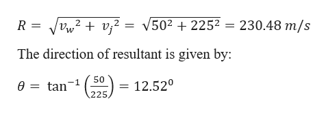 V5022252 = 230.48 m/s vj2 2 R 12. The direction of resultant is given by: 50 tan 12.520 ө 225