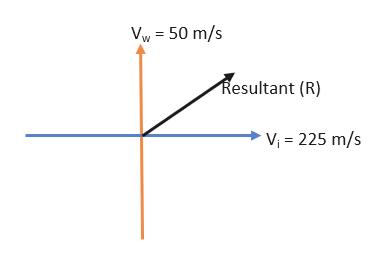 Vw 50 m/s Resultant (R) Vi 225 m/s
