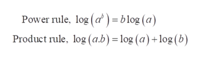 Power rule, log (a) = blog (a) Product rule, log (a.b) = log (a) +log (b)