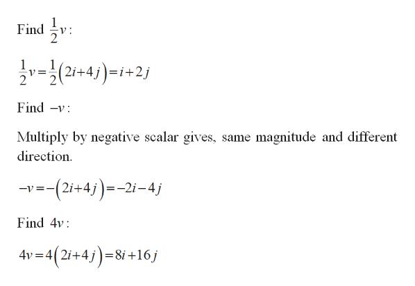 Find v(2+4)-+2 = i+ Find -v Multiply by negative scalar gives, same magnitude and different direction --(2i+4j)=-2i-4j Find 4v 4v 4(2i+48i +16j