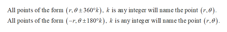 All points of the form (r,0 360°k), k is any integer will name the point (r,0) All points of the form (-r,0±180°k), k is any integer will name the point (r,0)
