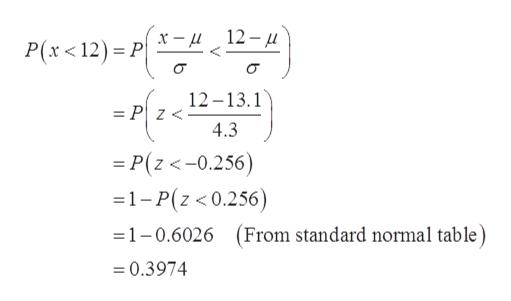 12- x - P(x < 12) P 12-13.1 = P z< 4.3 =P(z<-0.256) -1-P(z < 0.256) (From standard normal table 1-0.6026 =0.3974