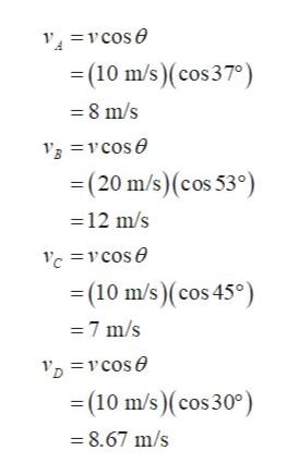 vcose (10 m/s)(cos 37) 8 m/s Bcose =(20 m/s)(cos 53°) 12 m/s c=vcose =(10 m/s)(cos 45°) 7 m/s vcose (10 m/s)(cos 30° -8.67 m/s