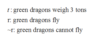 t:green dragons weigh 3 tons r green dragons fly ~r green dragons cannot fly