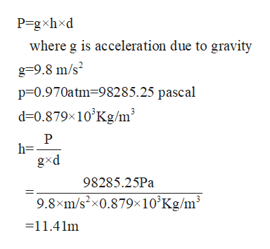 P=gxhxd where g is acceleration due to gravity g=9.8 m/s2 p 0.970atm-98285.25 pascal d 0.879x10 Kg/m3 h= gxd 98285.25Pa 9.8xm/s2x0.879x10°Kg/m3 =11.41m