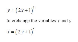 y (2x+1) Interchange the variables x and y x (2y+1)
