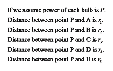 Ifwe assume power of each bulb is P Distance between point P and A is r. Distance between point P and B is r,. Distance between point P and C is r, Distance between point P and D is r, Distance between point P and E is r,