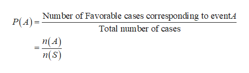 Number of Favorable cases corresponding to eventA P(A) Total number of cases n(A) n(s)